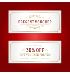 Voucher template with vintage ornament design vector