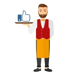 Waiter with like buttone vector