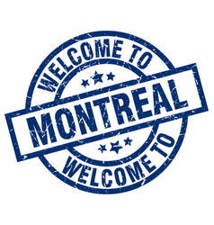 Welcome to montreal blue stamp vector