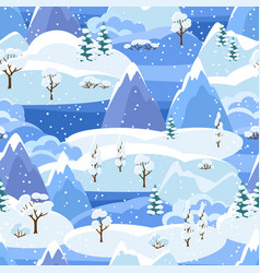 Winter seamless pattern with trees mountains and vector