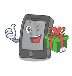 With gift ipad on a wooden cartoon table vector