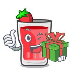 With gift strawberry mojito mascot cartoon vector