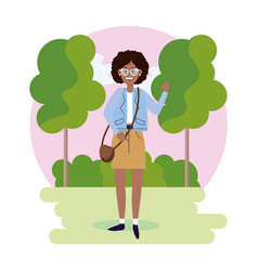 Woman wearing glasses with bag and trees with vector