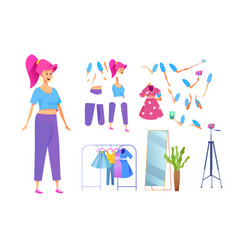 Young girl fashion blogger outfit stylist vector