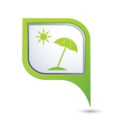 beach icon on green pointer vector image