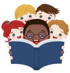 children reading books vector image vector image