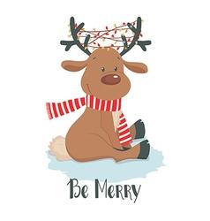 Christmas deer Cute reindeer on a white background vector image vector image