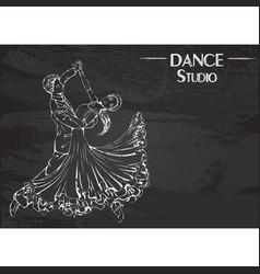 dance line chalk ballroom dancing classic vector image vector image