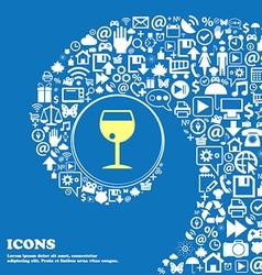 glass of wine sign symbol Nice set of beautiful vector image