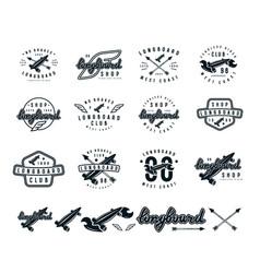 set of longboard emblems vector image vector image