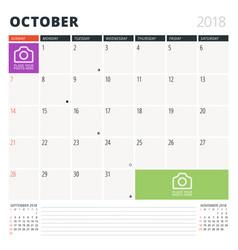 calendar planner for october 2018 design template vector image vector image