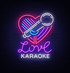 karaoke love logo in neon style neon sign bright vector image