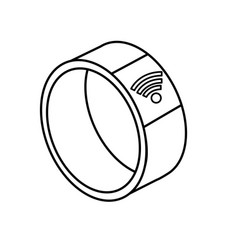 Line technology smartwatch with digital connection vector