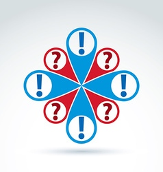 map pointer with a question and exclamation marks vector image