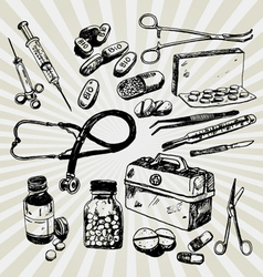 medical stuff hand drawn vector image vector image