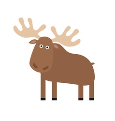 Moose elk Cute cartoon funny character Forest vector image vector image