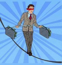 pop art businessman walking on the rope vector image