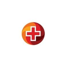 Red medical cross logo Round shape logotype vector image