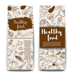 set of healthy food banner templateshand drawn vector image vector image