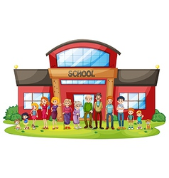 A big family in front of the school building vector image vector image