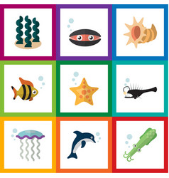 flat icon sea set of scallop seafood fish and vector image