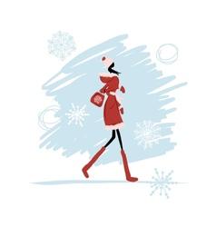 Girl in winter coat for your design vector image vector image
