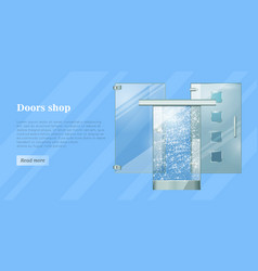 glass doors conceptual flat web banner vector image vector image