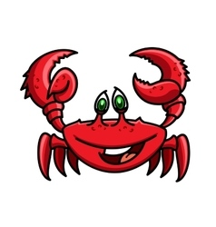 Smiling cartoon ocean red crab character vector image vector image