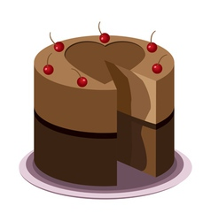Tasty chocolate cake vector image