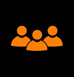 team work sign orange icon on black background vector image