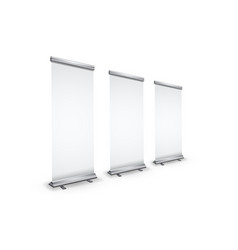 three blank realistic roll-up banners with shadow vector image