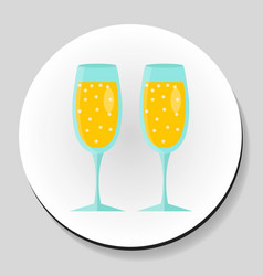 two glasses of champagne sticker icon flat style vector image