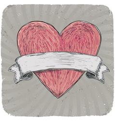 Vintage heart ribbon vector