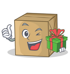 With gift cardboard character character collection vector