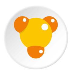 yellow molecule icon circle vector image