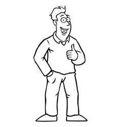 Black and white man with thumbs up vector image vector image