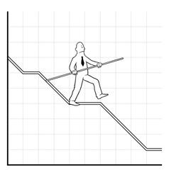 Business man balancing on declining graph vector image vector image