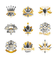 flowers royal symbols floral and crowns emblems vector image vector image