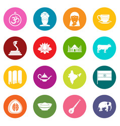 india travel icons many colors set vector image vector image