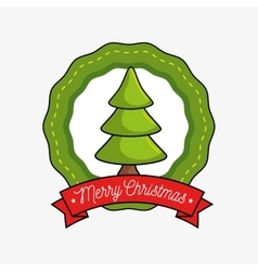 merry christmas label with tree icon vector image vector image