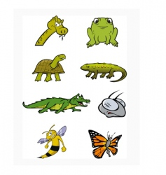 reptiles insects collection vector image vector image