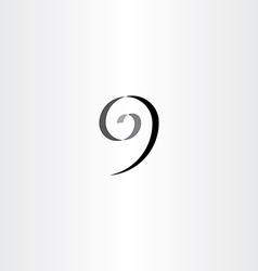 stylized number 9 nine black spiral icon vector image