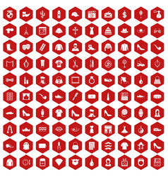 100 stylist icons hexagon red vector