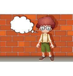 A boy thinking near wall vector