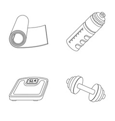 A dumbbell a rug and other equipment for training vector