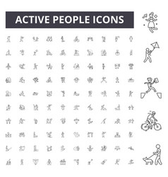 active people line icons signs set vector image