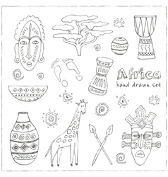 Africa sketch icons set vector
