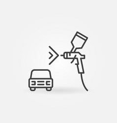 Auto with spray gun linear concept icon vector