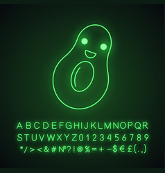 Avocado cute kawaii neon light character vector