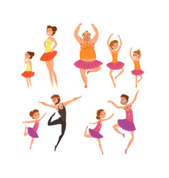 ballet girls and their fathers in tutu dress vector image